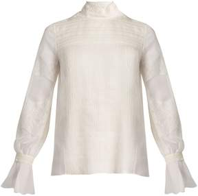 Valentino Lace-trimmed high-neck silk blouse