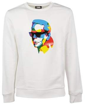 Karl Lagerfeld Men's 58294010 White Cotton Sweatshirt.