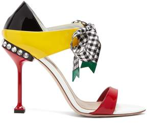 Miu Miu Contrast-panel patent-leather sandals