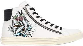 Hogan Tattoo Printed Leather High Top Sneakers