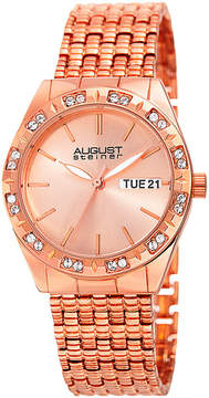 August Steiner Womens Rose Goldtone Strap Watch-As-8177rg