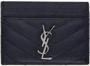 Saint Laurent Navy Quilted Monogram Card Holder - NAVY - STYLE