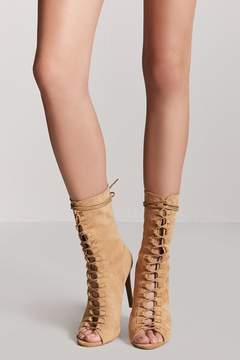 Forever 21 Faux Suede Lace-Up Booties