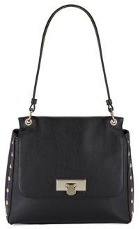 Donna Karan Med Flap Leather Shoulder Bag