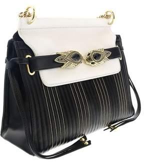 Roberto Cavalli Black/white/gold Quilted Leather Shoulder Bag
