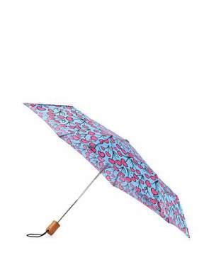 Anna Coroneo Cherry-Print Umbrella, Pink/Blue