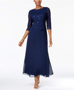 Alex Evenings Petite Sequin Lace Gown