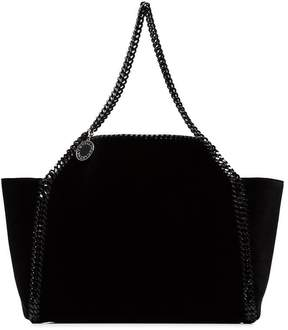 Stella McCartney black falabella reversible velvet shoulder bag