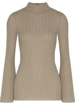 Enza Costa Ribbed-Knit Cashmere And Cotton-Blend Sweater
