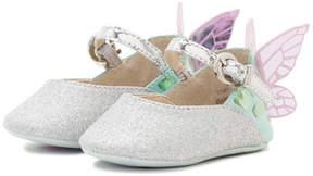 Sophia Webster Chiara Glittered Butterfly-Wing Flat, Infant