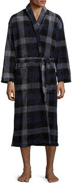 Majestic International Plaid-Print Belted Long Robe, Navy/Chacoal