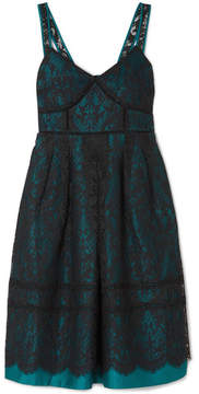 Draper James Betty Corded Lace And Duchesse-satin Midi Dress - Teal