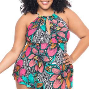 Boutique + + Floral Tankini Swimsuit Top-Plus