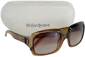 Saint Laurent Light Brown Rectangle Sunglasses