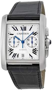 Cartier Tank MC Chronograph Silver Dial Black Leather Men's Watch