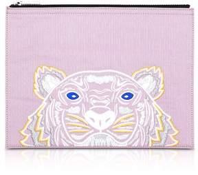 Kenzo Flamingo Pink Canvas A4 Tiger Clutch