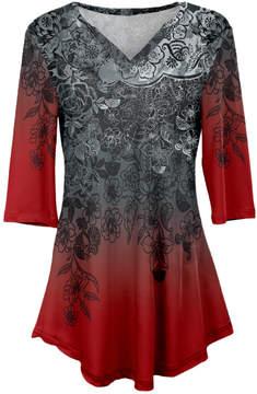 Azalea Red & Gray Floral V-Neck Tunic - Plus