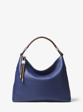 Michael Kors Skorpios Pebbled-Leather Shoulder Bag - BLUE - STYLE