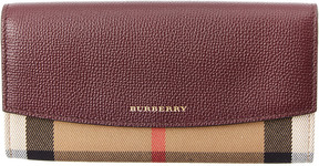 Burberry House Check & Leather Continental Wallet - BROWN - STYLE