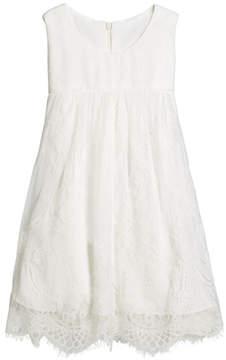 Helena Lace Empire-Waist Sleeveless Dress, Size 12-18 Months