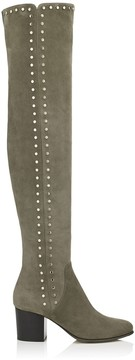 Jimmy Choo HARLEM 65 Mink Suede Over The Knee Boots with Studded Trim