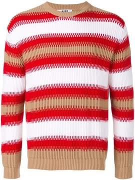 MSGM Folk striped knit jumper