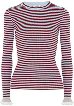 Kenzo Striped Ribbed Cotton-blend Sweater - Sky blue