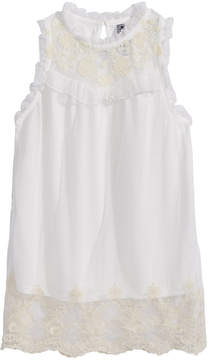 Beautees Big Girls Victorian Embroidered Top