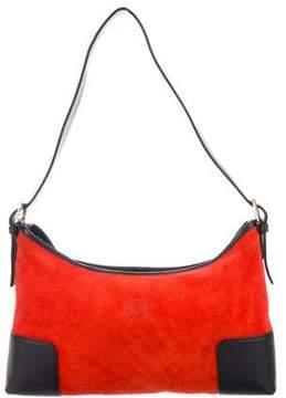 Loewe Leather-Trimmed Suede Shoulder Bag