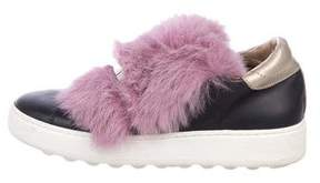 Philippe Model Fur-Trim Slip-On Sneakers