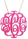 Round Acrylic Script Monogram Necklace