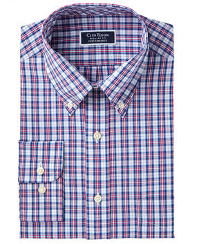 Club Room Men's Classic/Regular Fit Wrinkle-Resistant Plaid Dress Shirt, Created for Macy's