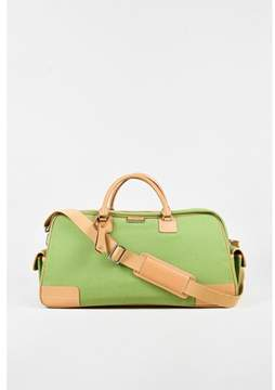Lambertson Truex Pre-owned Green Canvas & Tan Leather Trimmed Luggage Bag.