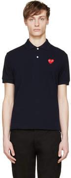 Comme des Garcons Navy Logo Appliqué Polo