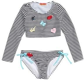 Kate Mack Stripe Two-Piece Rashguard Swimsuit