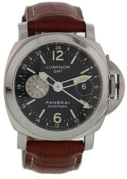 Panerai Luminor GMT PAM88 Stainless Steel & Leather Automatic 44mm Mens Watch