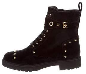 Fendi Spike-Embellished Velvet Biker Boots