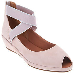 Kenneth Cole Gentle Souls by Gentle Souls Leather Peep Toe Wedges- Lisa