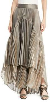 Brunello Cucinelli Metallic Pleated Iridescent Tiered Maxi Skirt