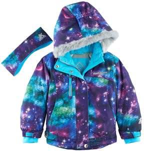 ZeroXposur Girls 4-6x Heavyweight River Galaxy Snowboard Jacket & Headband Set