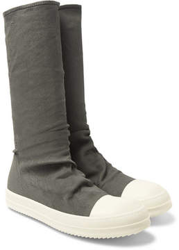 Rick Owens Blistered Stretch-Nubuck Sneaker Boots