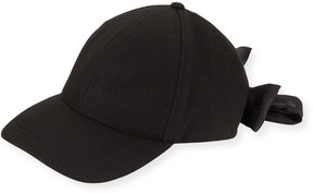 Neiman Marcus Felt Baseball Cap with Bow