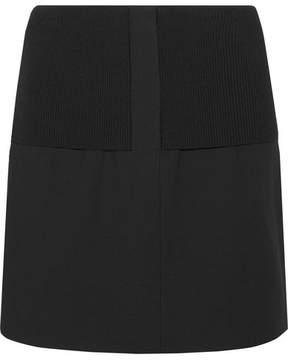 Tibi Anson Camille Ribbed Stretch-knit And Wool-blend Mini Skirt - Black