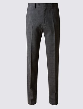Marks and Spencer Tailored Fit Wool Blend Flat Front Trousers