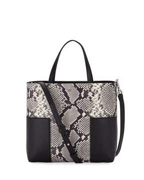 Tory Burch Block-T Mini Embossed Tote Bag - SNAKE BLACK - STYLE