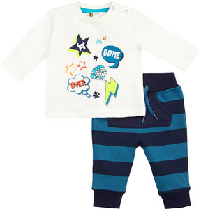 Petit Lem Game Over Graphic Two-Piece Set, White, Size 3-24 Months