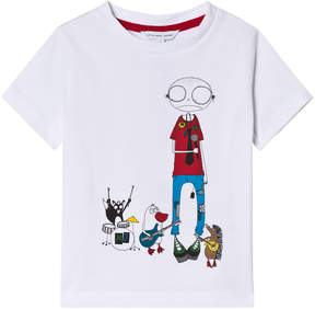 Little Marc Jacobs White Mr Marc and Band Print Tee
