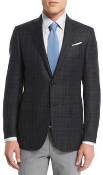 Ermenegildo Zegna Plaid Two-Button Wool Blazer, Gray/Green