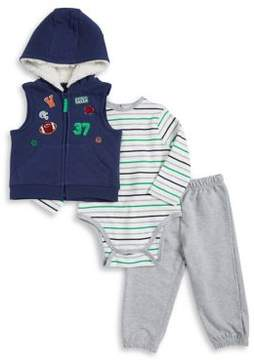 Little Me Baby Boy's Three-Piece Sports Cotton Vest, Bodysuit & Pants Set