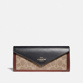 COACH COACH SOFT WALLET IN COLORBLOCK SIGNATURE CANVAS - B4/TAN BLACK